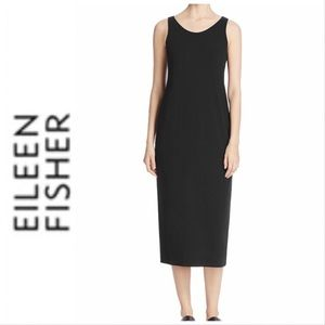 Eileen Fisher Black Crepe Shift Tank Dress Small